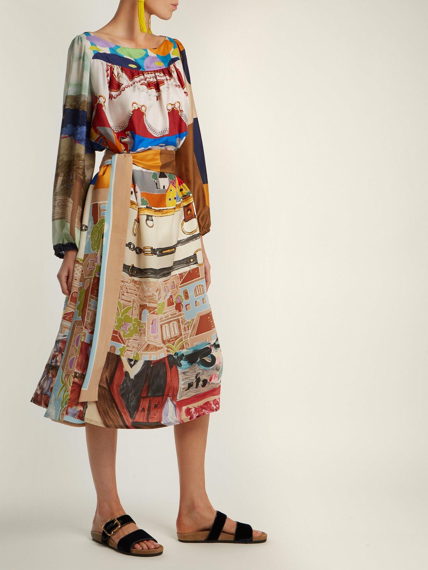 Vintage patchwork silk midi dress by Rianna + Nina