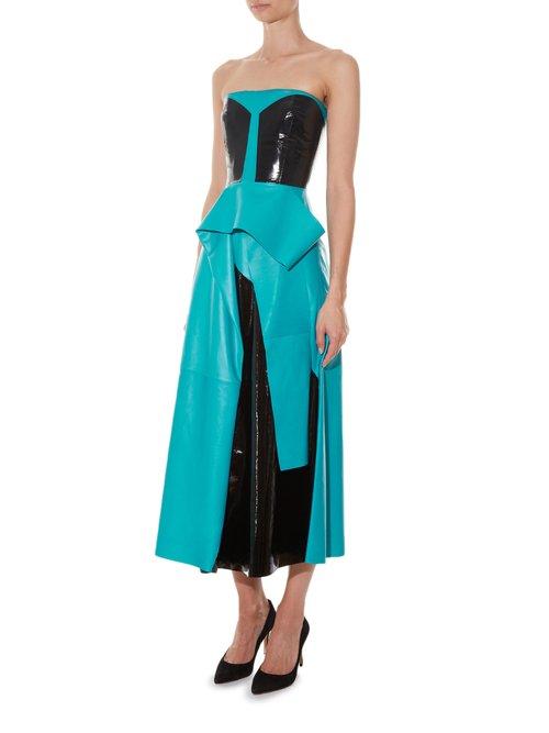 Wyman strapless leather dress by Roksanda