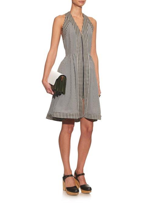 Halterneck checked cotton-blend dress by Isa Arfen