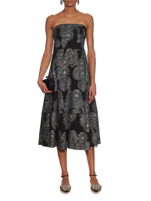 Alina metallic-jacquard strapless dress by Erdem