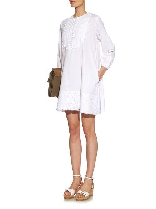 Lace trimmed cotton-poplin dress by No. 21