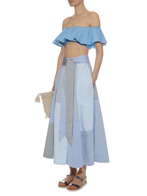Patchwork cotton-poplin skirt by Lisa Marie Fernandez