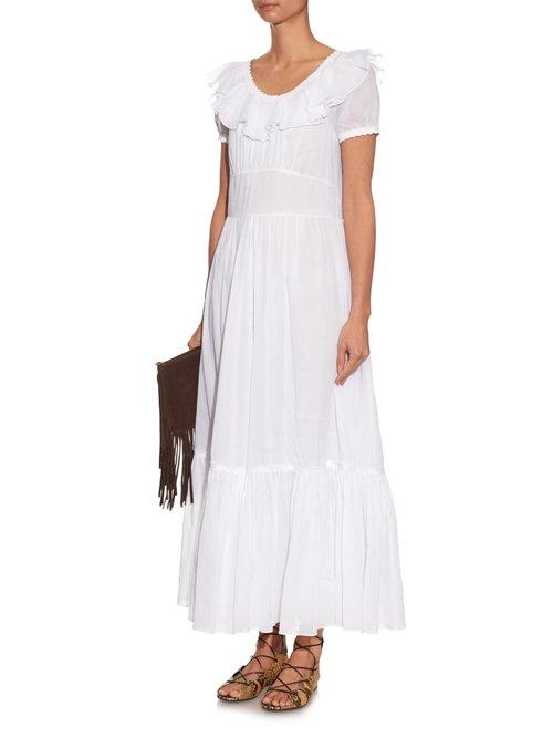 Shop Saint Laurent Ruffle-trimmed cotton-organza maxi dress online sale