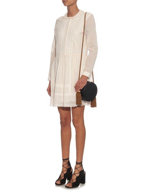 Shop Saint Laurent Lace-panel pintuck pleated dress online sale
