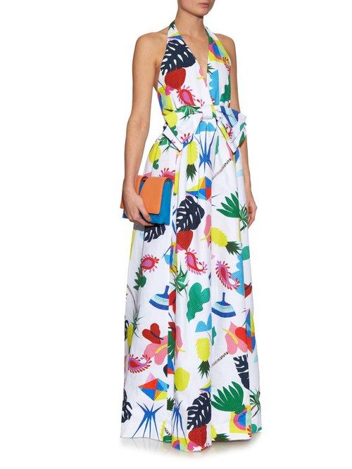Isolda halterneck Niemeyer-print dress by Isolda