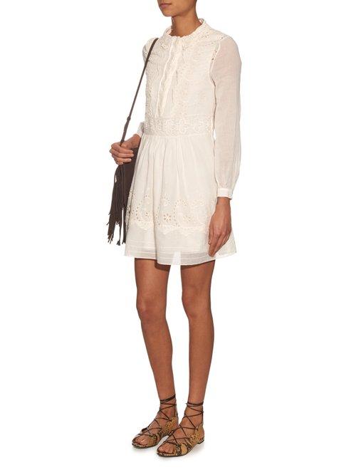 Folk broderie-anglaise dress by Saint Laurent