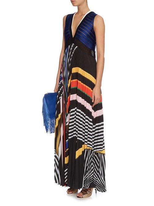 Rindi V-neck stripe-print maxi dress by Mary Katrantzou