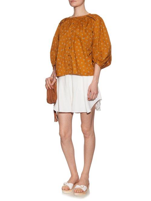 Pandora carnation-print cotton blouse by Thierry Colson