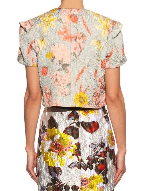 Floral-jacquard cropped jacket by Oscar De La Renta