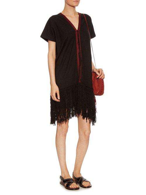 Fringed-hem silk-noil dress by Masscob