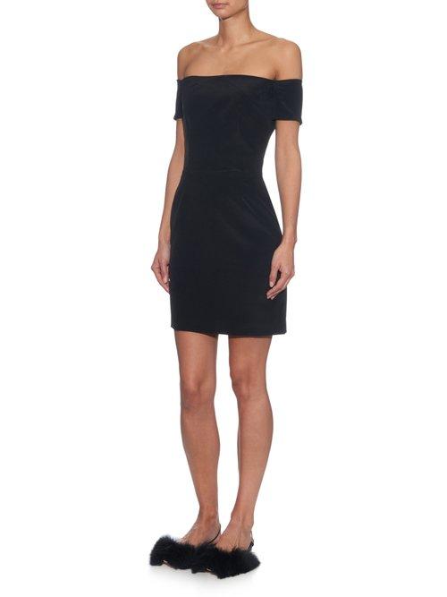 Off-the-shoulder silk dress by Raey