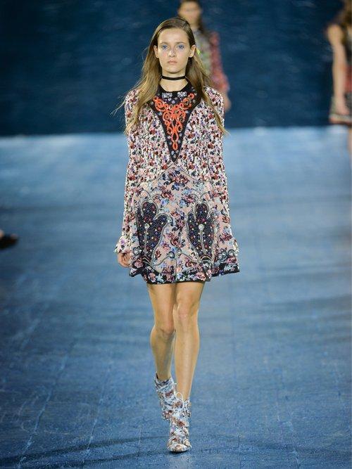 Holbert Cosmo Rose-print A-line dress by Mary Katrantzou