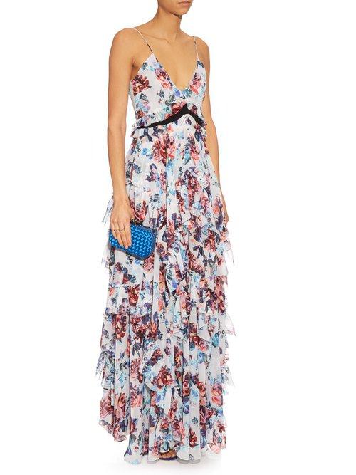 Caliente Solar Rose-print ruffled silk dress by Mary Katrantzou