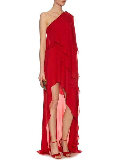 Asymmetric silk-georgette gown by Elie Saab