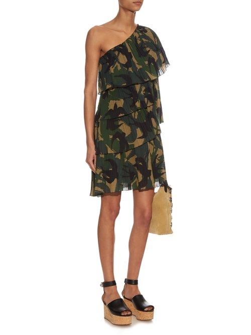 Swallow camouflage-print one-shoulder dress by Sonia Rykiel