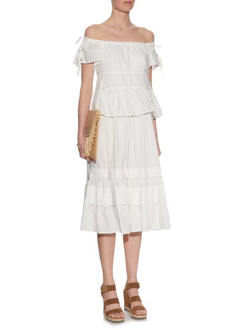 Off-the-shoulder stretch cotton-blend dress by Rebecca Taylor