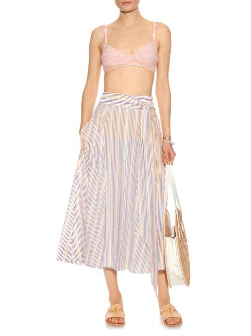 Seersucker midi skirt by Lisa Marie Fernandez