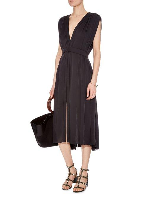 V-neck silk-charmeuse dress by Maison Rabih Kayrouz