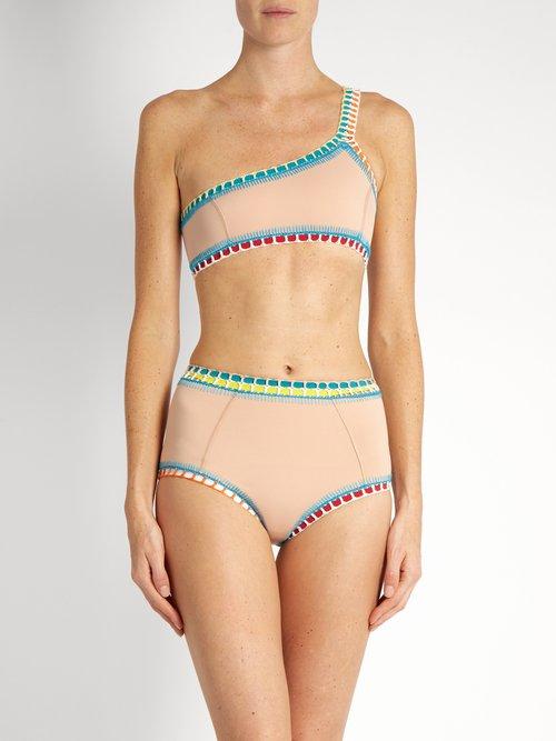Luna crochet-trim triangle bikini by Kiini