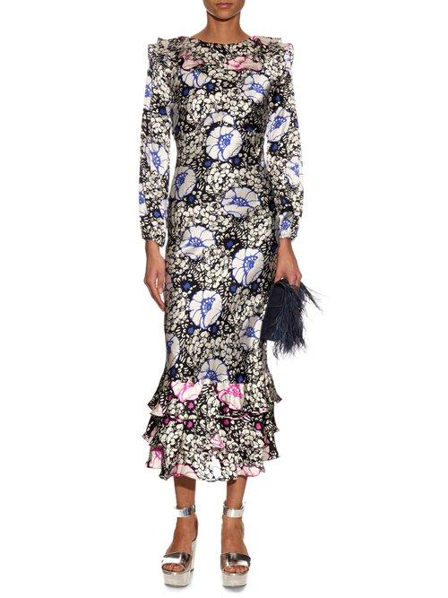 Zanzibar Flower-print silk-satin dress by Duro Olowu