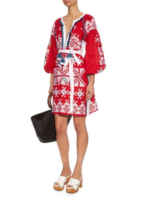 Pixels embroidered linen dress by Vita Kin