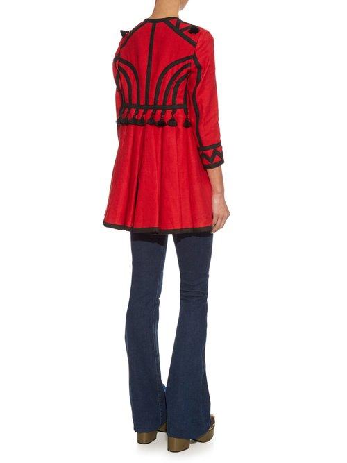 Mira Tassel Embellished Linen Coat by Vita Kin