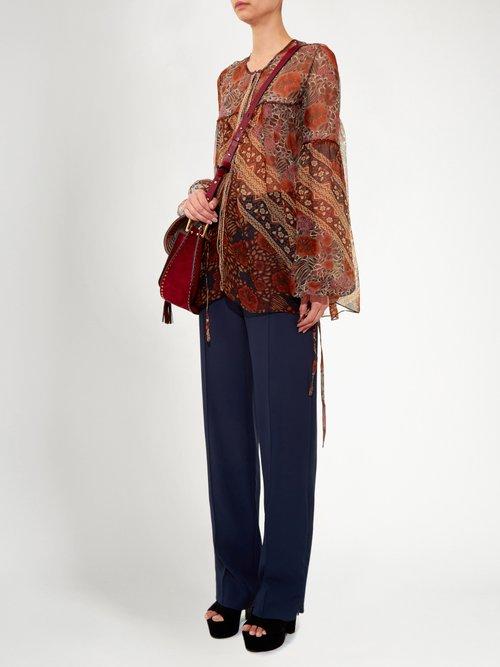 Foulard-print sheer silk blouse by