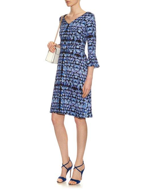 Cristiana petal-print crepe dress by Goat