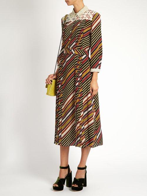 Diagonal-print silk-crepe midi dress by Bottega Veneta