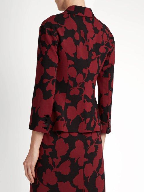 Single-breasted floral-brocade jacket by Oscar De La Renta