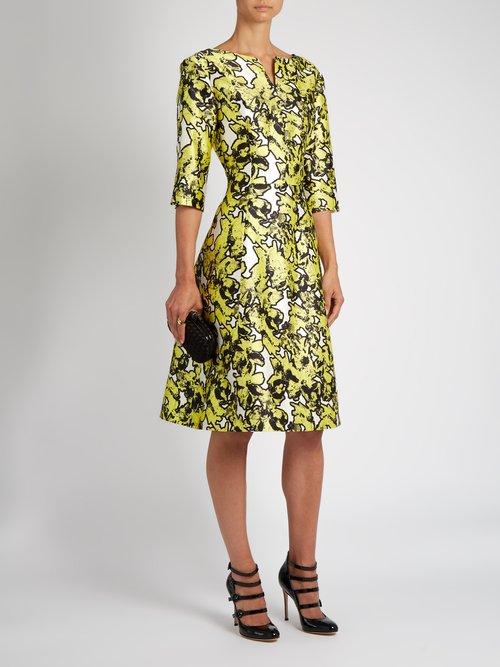 V-neck floral-print full-skirt silk dress by Oscar De La Renta