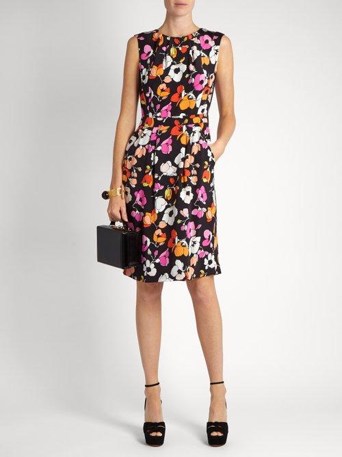 Sleeveless floral-print silk pencil dress by Oscar De La Renta