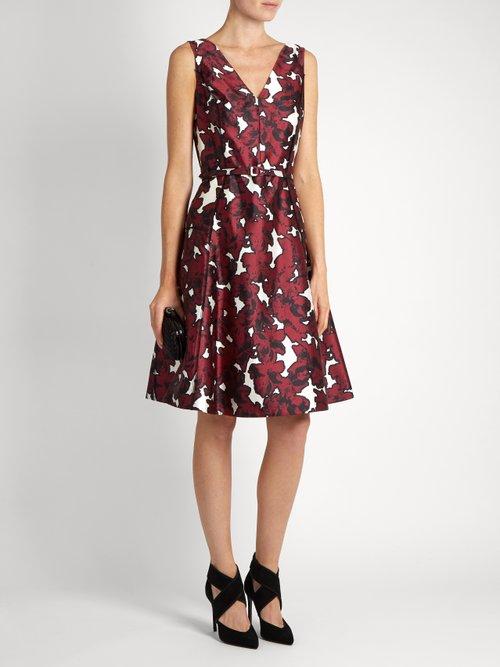 Floral-print silk-twill dress by Oscar De La Renta