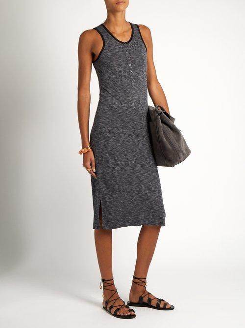Sleeveless jersey henley dress by Atm