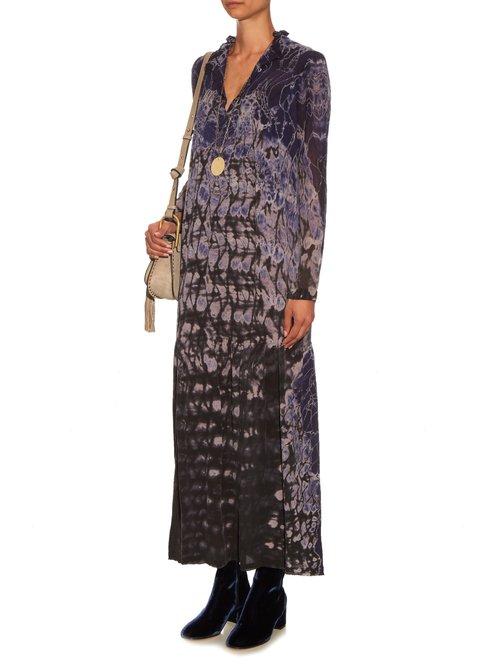 Silk-chiffon tie-dye maxi dress by Raquel Allegra