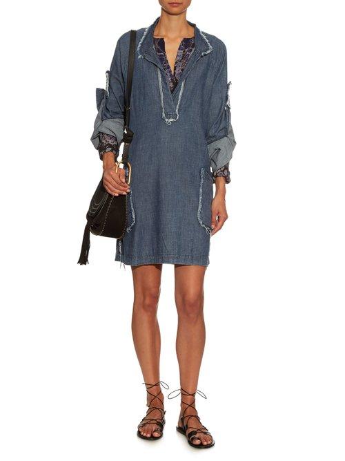 Frayed-edge cotton-chambray dress by Raquel Allegra
