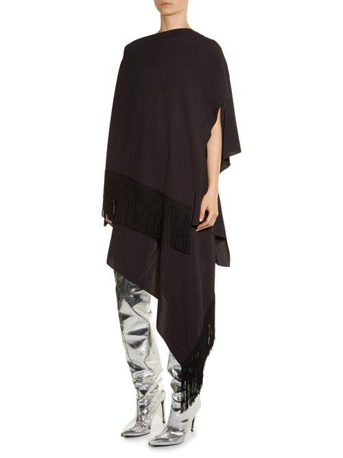 Fringed cape dress by Balenciaga
