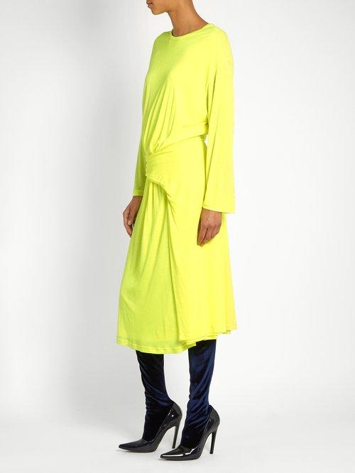 Asymmetric-peplum jersey midi dress by Balenciaga