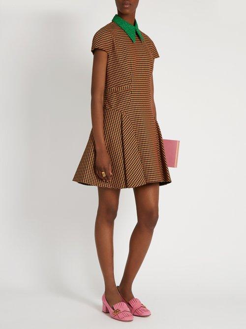Detachable-collar tweed A-line dress by Delpozo