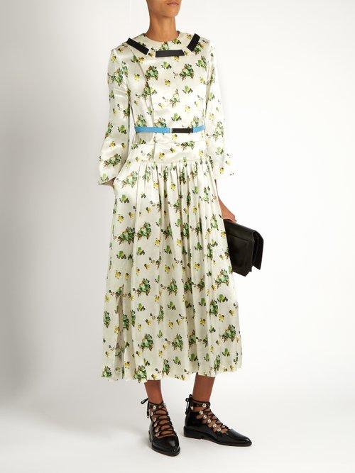 Floral-print contrast-ribbon satin dress by Toga