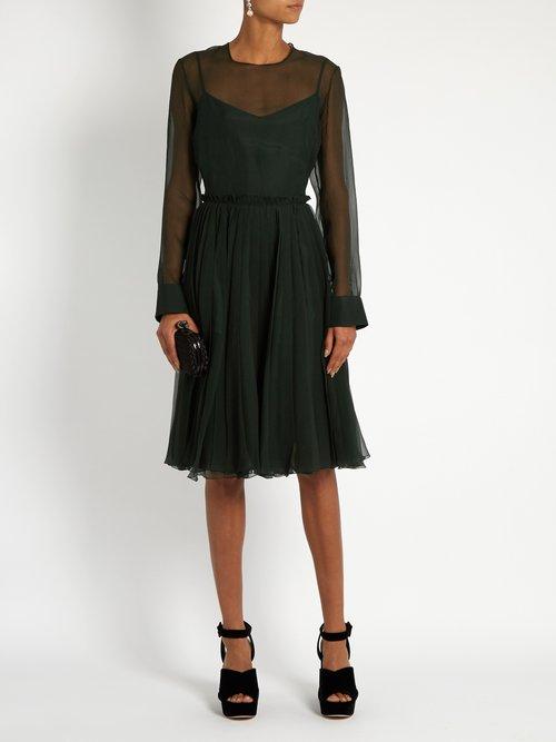 Sigaline silk-organza pleated-waist dress by Rochas