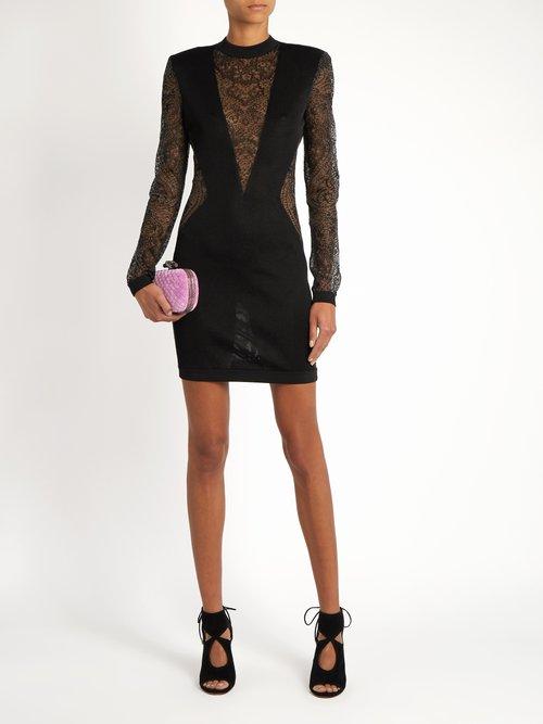 Lace-insert mini dress by Balmain