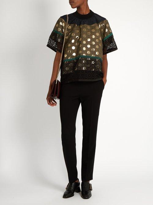Contrast-panelled short-sleeved top by Kolor