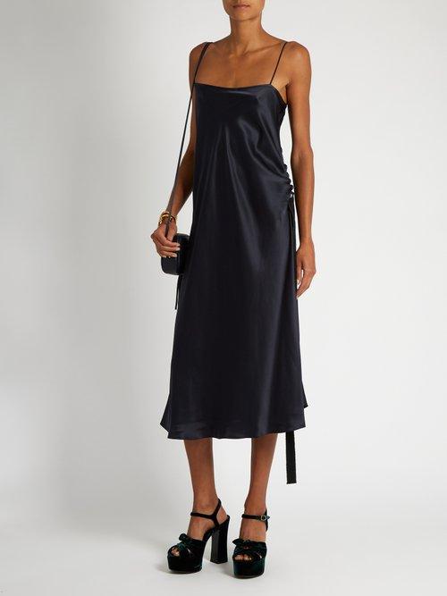 Tony ruched-side silk-satin slip dress by Ellery