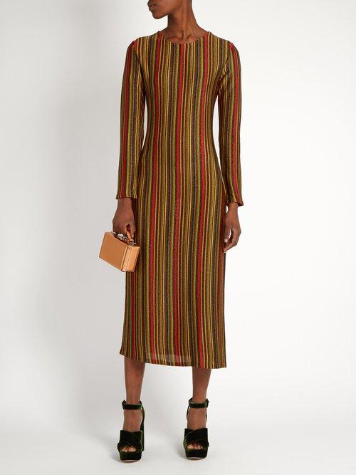 Striped round-neck midi dress by Marco De Vincenzo