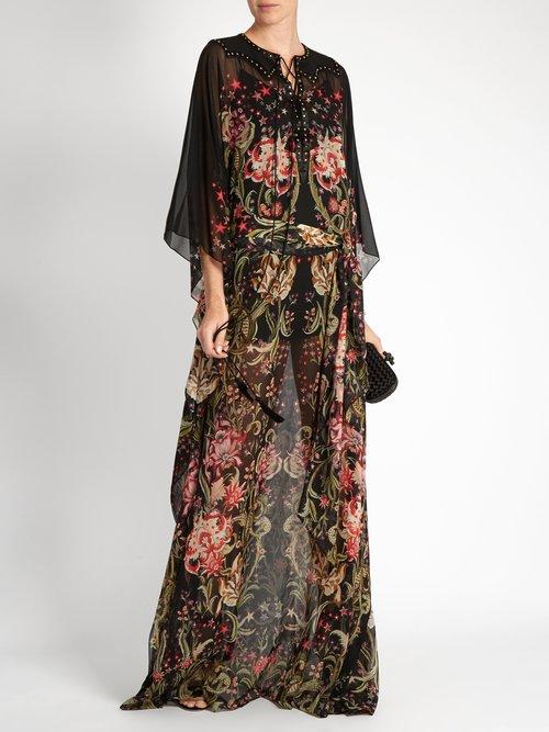 Galaxy Garden-print silk-georgette gown by Roberto Cavalli