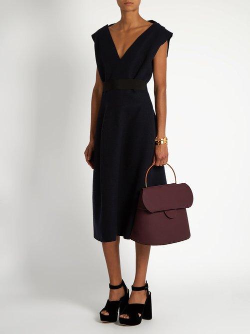 V-neck wool-felt midi dress by Maison Rabih Kayrouz