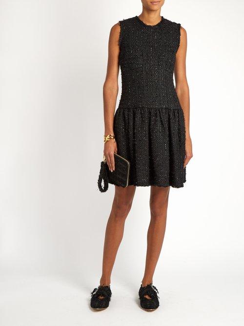 Round-neck sleeveless tweed dress by Simone Rocha