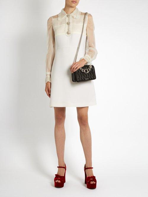 Crystal-embellished wool and silk dress by Miu Miu