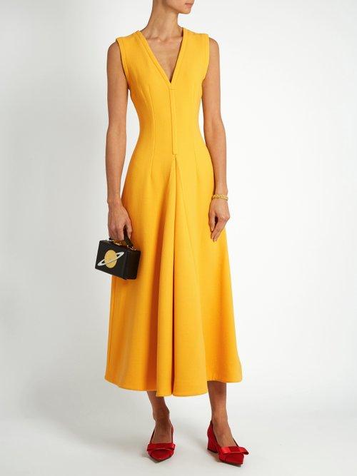 Suki V-neck sleeveless wool midi dress by Emilia Wickstead